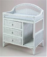 J Mason J2166 Wicker Changing Table in White