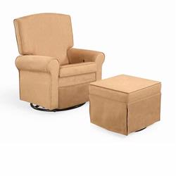 Shermag 37204.G8.0181-KIT Peat Square Back Super Smooth Upholstered Glider/ Rocking Chair and Ottoman