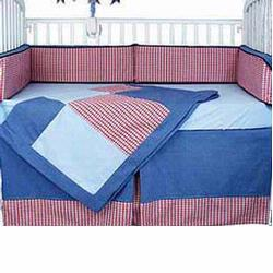Hoohobbers Crib Bedding 4 pc Set, Blue Plaids