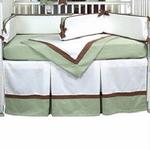 Hoohobbers Crib Bedding 4 pc Set, Classic Green