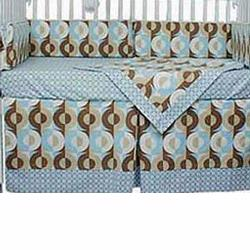 Hoohobbers Crib Bedding 4 pc Set, Cocoa Blue