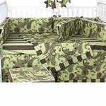 Hoohobbers Crib Bedding 4 pc Set, Cocoa Green