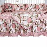 Hoohobbers Crib Bedding 4 pc Set,Cocoa Pink