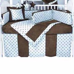 Hoohobbers Crib Bedding 4 pc Set, Dots Blue