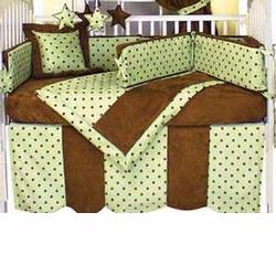 Hoohobbers Crib Bedding 4 pc Set, Dots Green