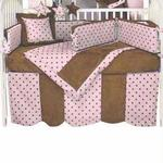 Hoohobbers Crib Bedding 4 pc Set, Dots Pink