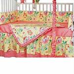 Hoohobbers Crib Bedding 4 pc Set, Flirty Flowers