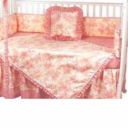 Hoohobbers Crib Bedding 4 pc Set, Etoile Pink