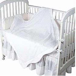 Hoohobbers Crib Bedding 4 pc Set, White Eyelet/Pique