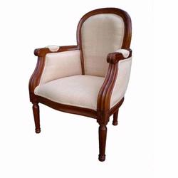 Giftmark 8305cbe Child's French Style Diamond Arm Chair - Cherry Frame / Beige Fabric