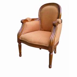 Giftmark 8305cbrn Child's French Style Diamond Arm Chair - Cherry Frame / Brown Fabric