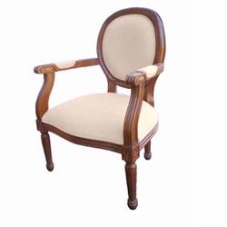 Giftmark 8315cbe Child's French Style Medialum Arm Chair - Cherry Frame / Beige Fabric