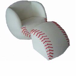 Giftmark 6740 Children's Upholstered Baseball Chair with Ottoman