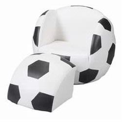 Giftmark 6720 Children's Upholstered Soccer Chair with Ottoman