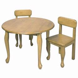 GiftMark 3000N Queen Anne Round Table and Chair Set, Natural
