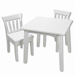 GiftMark 5525W Square Table and Chair Set, White