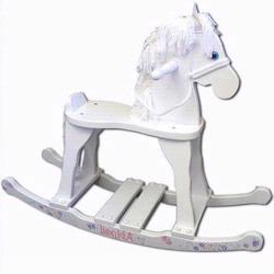 GiftMark 2000W Large Champion Wooden Rocking Horse,White