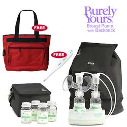 Ameda 17075KIT1, Combo #1 Purely Yours Breast Pump, with Back Pack, Free Diaper Bag and Omron Digital Thermometer