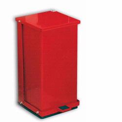 Detecto P-48R Red Baked Epoxy Steel Step-On Can Waste Receptacle 48 Quart Capacity