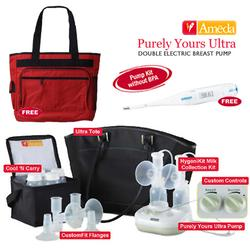 Ameda 17085KIT2 Combo #2 Purely Yours Ultra Breast Pump With Diaper Bag and Omron Thermometer