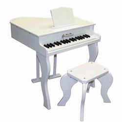 Schoenhut 372W 37 Key Elite Baby Grand Piano - White