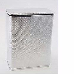 228-SVSV Bath Jewelry Collection Rectangular Hamper - Silver with Silver Lining