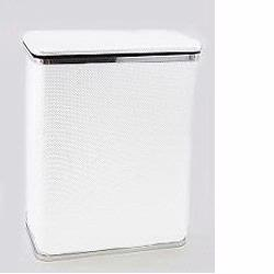 228-WHSV Bath Jewelry Collection Rectangular Hamper - White With Silver Lining