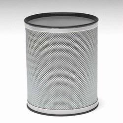 R228-SVSV Redmon Bath Jewelry Collection Round Wastebasket - Silver with Silver Lining