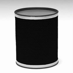R228-BKSV Redmon Bath Jewelry Collection Round Wastebasket - Black With Silver Lining