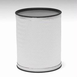 R228-WHSV Redmon Bath Jewelry Collection Round Wastebasket - White with Silver Lining