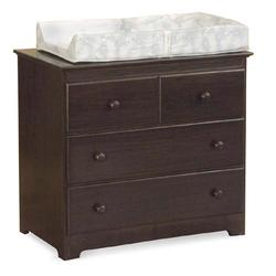Atlantic Furniture 69134 Windsor 3 Drawer Changing Dresser - Antique Walnut