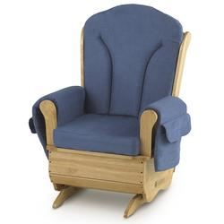 Foundations 85-FW-NB SafeRocker Deluxe Adult Glider Rocker - Natural Finish/Blue