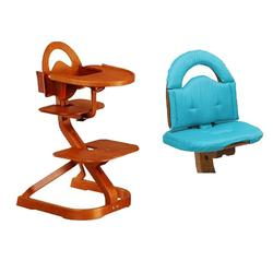 Scandinavian Child Svan Signet Complete High Chair, Cherry Finish With Turquoise Cushion