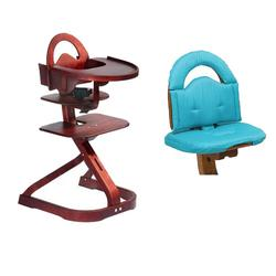 Scandinavian Child Svan Signet Complete High Chair, Mahogany With Turquoise Cushion