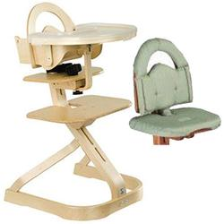 Scandinavian Child Signet Complete High Chair, Natural Finish With Sage Cushion