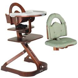 Scandinavian Child Svan Signet Complete High Chair, Mahogany Finish With Sage Cushion