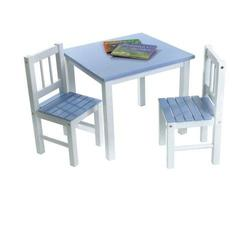 Lipper International 513BL Child's Table and 2-Chair Set, Blue and White