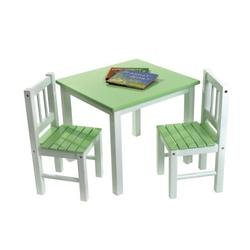 Lipper 513GR Child's Table and 2-Chair Set, Green and White