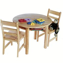 Lipper Child's Round Table w/shelf & Two Chairs 524 - Natural