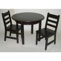 Child's Round Table w/shelf & Two chairs 524E - Espresso