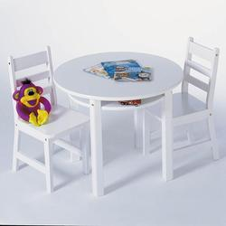 Child's Round Table w/shelf & 2 chairs 524W - White