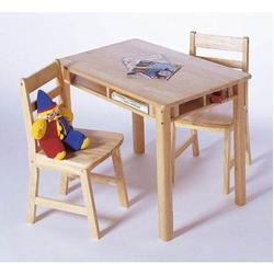 Child's Rectangular Table with Shelves & Two Chairs 534 - Natural Beechwood