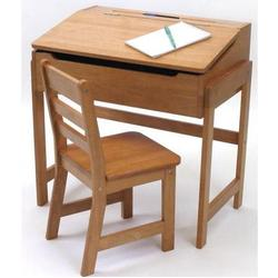 Lipper Child's Slanted Top Desk And Chair 564P - Pecan