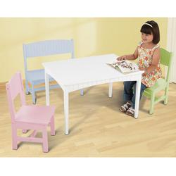 KidKraft 26112 Nantucket Table with Bench and 2 Chairs - Pastel