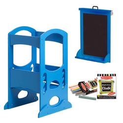 Little Partners LP00406ESLC Azure Blue Learning Tower With Matching Easel and Chalk