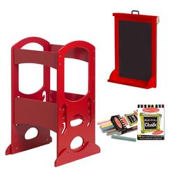 Little Partners LP00405ESLC Red Learning Tower With Matching Art Easel and Chalk