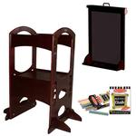 Little Partners LP00402ESLC, Drk Cherry Learning Tower W/Matching Easel & Chalk
