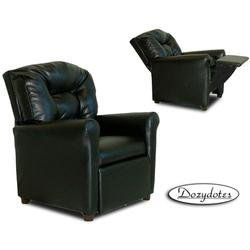 Dozydotes 9974 Leather Like Four Button Children's Recliner - Black