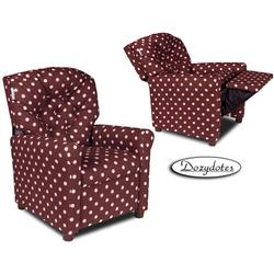 Dozydotes 10302 Fabric Four Button Children's Recliner - PINK a Dot