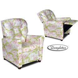Dozydotes 10596 Fabric Four Button Children's Recliner - Pink Toile